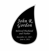 Tear Drop Nameplate - Engraved Black and Silver - 2-3/4  x  4-1/8