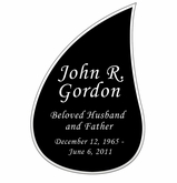 Tear Drop Nameplate - Engraved Black and Silver - 3-1/2  x  5-1/4