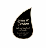 Tear Drop Nameplate - Engraved Black and Tan - 1-7/8  x  2-7/8
