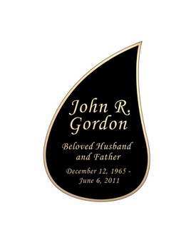 Tear Drop Nameplate - Engraved Black and Tan - 2-3/4  x  4-1/8