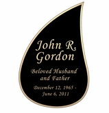 Tear Drop Nameplate - Engraved Black and Tan - 3-1/2  x  5-1/4