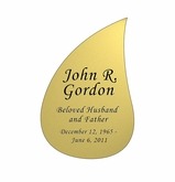 Tear Drop Nameplate - Engraved - Gold - 2-3/4  x  4-1/8