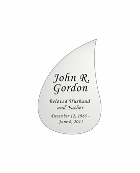 Tear Drop Nameplate - Engraved - Silver - 1-7/8  x  2-7/8