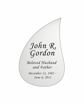 Tear Drop Nameplate - Engraved - Silver - 2-3/4  x  4-1/8