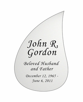 Tear Drop Nameplate - Engraved - Silver - 3-1/2  x  5-1/4