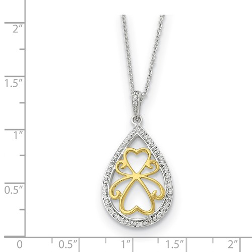 Sterling Silver w//Gold-tone Polished CZ A Tear of Love Pendant Necklace 18 by Sentimental Expressions