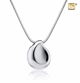 TearDrop Rhodium Plated Sterling Silver Cremation Jewelry Pendant Necklace