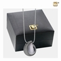 Omega with Crystal Two Tone Rhodium Plated Sterling Silver Cremation Jewelry Pendant Necklace