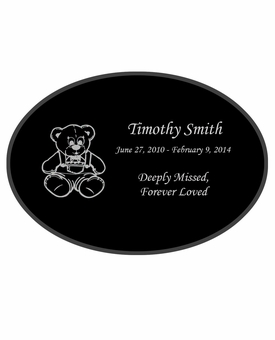 Teddy Bear Laser-Engraved Infant-Child Oval Plaque Black Granite Memorial