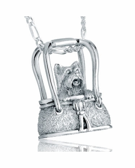 Terrier in Purse Sterling Silver Pet Cremation Jewelry Pendant Necklace