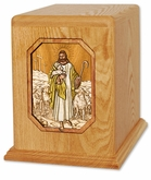 The Lord is My Shepherd Inlayed Oak Wood Companion Cremation Urn