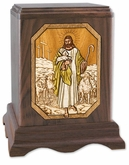 The Lord is My Shepherd Inlayed Walnut Wood Cremation Urn