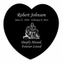 The Pieta Laser-Engraved Heart Plaque Black Granite Memorial