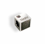 Thumbead Cube Bead/Charm 3D Fingerprint Sterling Silver Keepsake Memorial Jewelry