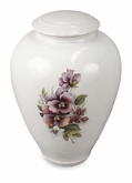 Tivoli I Pansy Classic Hand-Thrown Porcelain Vase Cremation Urn
