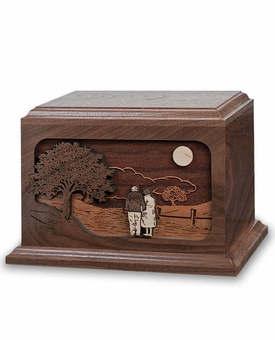 Together Again Dimensional Wood Companion Cremation Urn - Engravable
