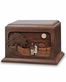 Together Again Dimensional Wood Cremation Urn - Engravable