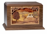 Together at Sunset Dimensional Walnut Wood Companion Cremation Urn