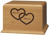 Together Forever Hearts Cherry Wood Companion Cremation Urn