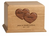Together Forever Hearts Kensington Cherry Wood Companion Cremation Urn