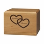 Together Forever Hearts Legacy Cherry Wood Niche Companion Cremation Urn