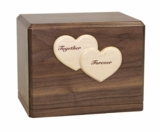 Together Forever Hearts Parkview Walnut Wood Niche Companion Cremation Urn