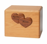 Together Forever Hearts Saratoga Cherry Wood Niche Companion Cremation Urn