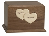 Together Forever Hearts Woodbridge Walnut Wood Companion Cremation Urn