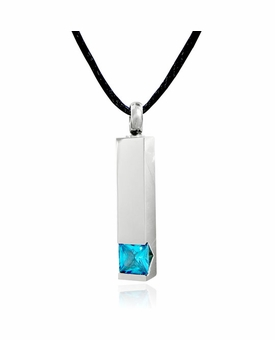 Topaz Pillar Stainless Steel Cremation Jewelry Pendant Necklace