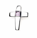 Tourmaline CZ Birthstone Cross Polished Sterling Silver Cremation Necklace Pendant
