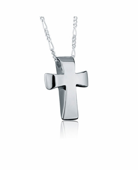Traditional Cross Sterling Silver Cremation Jewelry Pendant Necklace