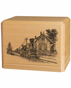 Train Depot Classic Maple Wood Cremation Urn