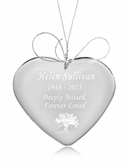 Tree of Life Heart Crystal Memorial Ornament