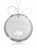Tree of Life Round Crystal Memorial Ornament