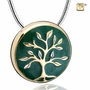 Tree Of Life Two Tone Gold Vermeil Cremation Jewelry Pendant Necklace