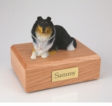 Tri-Color Collie Dog Figurine Pet Cremation Urn - 1560