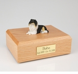 Tri-Color Collie Dog Figurine Pet Cremation Urn - 4007