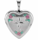 Tri-Color Heart with Cross and Roses Sterling Silver Memorial Locket Jewelry Necklace