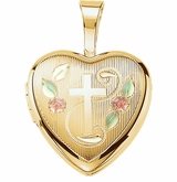 Tri-Color Heart with Cross Gold Vermeil Memorial Locket Jewelry Necklace
