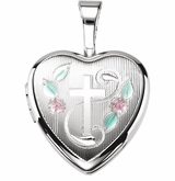 Tri-Color Heart with Cross Sterling Silver Memorial Locket Jewelry Necklace