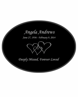 Triple Heart Laser-Engraved Oval Plaque Black Granite Memorial