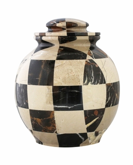 Triumph Cameo Black Gold Marble Mosaic Cremation Urn