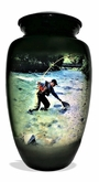 Trout Fisherman Picture Cremation Urn