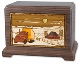 Trucker with 3D Inlay Walnut Wood Hampton Cremation Urn