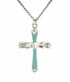 Turquoise Cross Sterling Silver Cremation Jewelry Necklace