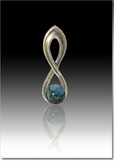 Turquoise Harmony Cremains Encased in Glass Sterling Silver Cremation Jewelry Pendant