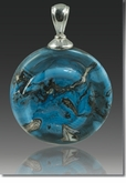 Turquoise Helix Cremains Encased in Glass Cremation Jewelry Pendant