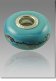 Turquoise Perfect Memory Bead Cremains Encased in Glass Cremation Jewelry