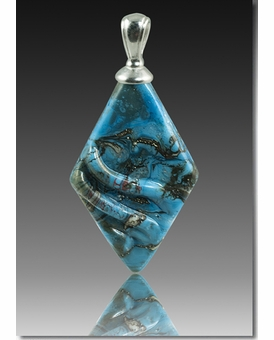 Turquoise Rhombic Cremains Encased in Glass Cremation Jewelry Pendant