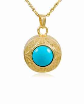 Turquoise Round Gold Vermeil Cremation Jewelry Pendant Necklace